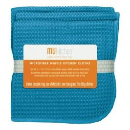 MÜkitchen Kuchynská handrička vaffle sea blue MÜmicro® 3 ks