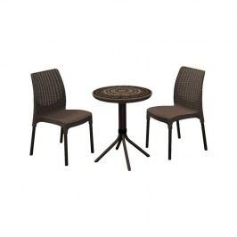Ratanový nábytok Allibert Chelsea + Mosaic stůl hnedý + Doprava zadarmo