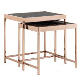 Set 2 konferenčných stolíkov, rose gold chróm ružová/čierna, VITOR