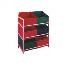 TEMPO KONDELA Viacúčelová komoda s úložnými boxami z látky, ružový rám/farebné boxy, COLOR 96