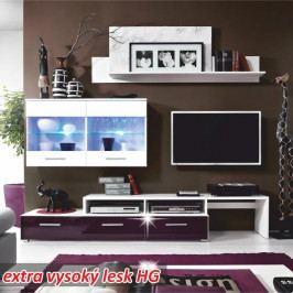 TEMPO KONDELA Obývacia stena, biela/ fialový vysoký lesk, SARAH