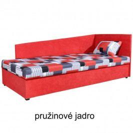 TEMPO KONDELA Celočalúnená váľanda s pružinovým matracom, pravá, červená/vzor, EDVIN 4 LUX