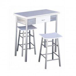 TEMPO KONDELA Barový set, stôl + 2 stoličky, biela/strieborná, HOMER