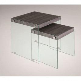TEMPO KONDELA Set 2 konferenčných stolíkov, tvrdené sklo/drevo, MOHAN