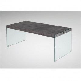 TEMPO KONDELA Konferenčný stolík, tvrdené sklo/MDF, vzor drevo, BOJAN