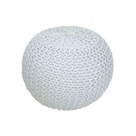 TEMPO KONDELA Pletený taburet, smotanová (biely melír) bavlna, GOBI TYP 1