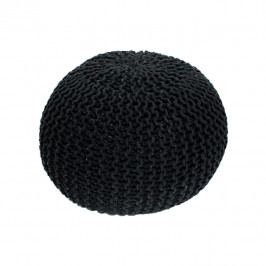 TEMPO KONDELA Pletený taburet, čierna bavlna, GOBI TYP 1