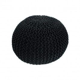 TEMPO KONDELA Pletený taburet, čierna bavlna, GOBI TYP 2