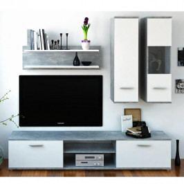 TEMPO KONDELA Obývacia stena, betón/biela, WAW NEW