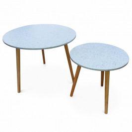 Set dvoch príručných stolíkov, mramorový efekt/drevo natural, LIRAN 2V1