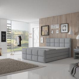TEMPO KONDELA Komfortná posteľ, sivá látka, 180x200, RAVENA MEGAKOMFORT VISCO