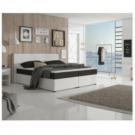 TEMPO KONDELA Komfortná posteľ, čierna látka/biela ekokoža, 160x200, NOVARA MEGAKOMFORT