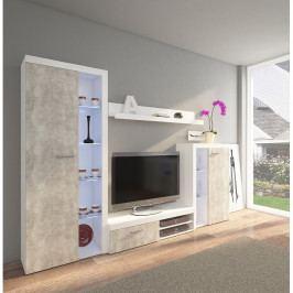 TEMPO KONDELA Obývacia stena, betón svetlý/biela, ROCHESTER