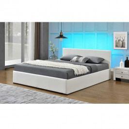 TEMPO KONDELA Manželská posteľ s RGB LED osvetlením, biela, 180x200, JADA