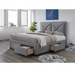 TEMPO KONDELA Luxusná posteľ s úložným priestorom, látka sivý melír, 160x200, XADRA