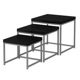 TEMPO KONDELA Sada 3 príručných stolíkov, čierny dub/sivá, ALVAN