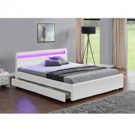 TEMPO KONDELA Manželská posteľ, RGB LED osvetlenie, biela ekokoža, 160x200, CLARETA