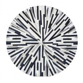 Luxusný kožený koberec, čierna/béžová/biela, patchwork, 150x150, KOŽA TYP 8