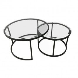 TEMPO KONDELA Set 2 konferenčných stolíkov, tvrdené sklo/kov, KALERO
