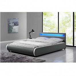 TEMPO KONDELA Manželská posteľ s, RGB LED osvetlením, sivá, 180x200, DULCEA