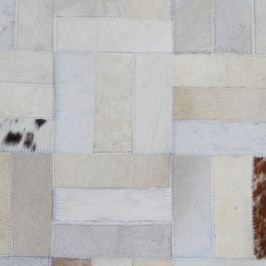 Luxusný kožený koberec, biela/sivá/hnedá, patchwork, 170x240, KOŽA TYP 1