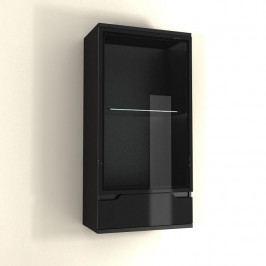 TEMPO KONDELA Závesná vitrína, čierna/čierna s extra vysokým leskom, ADONIS AS 08