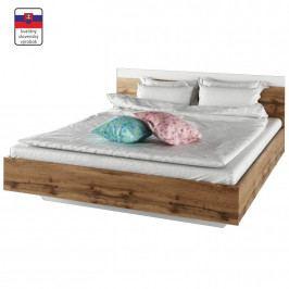 TEMPO KONDELA Manželská posteľ, 160x200, dub wotan/biela, GABRIELA