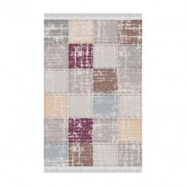 Koberec, hnedá/sivá/bordová/vzor štvorec, 80x150, FIRBI
