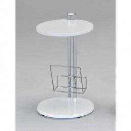 Príručný stolík na časopisy, biela, ANABEL