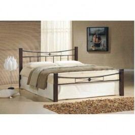 Manželská posteľ, drevo orech/čierny kov, 160x200, PAULA