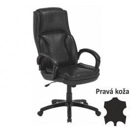 Kancelárska stolička, koža/ekokoža čierna, LUMIR
