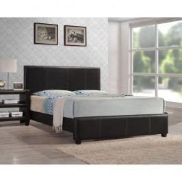 Manželská posteľ, s roštom, ekokoža tmavo hnedá, 160x200, ATALAYA