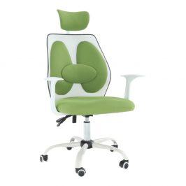 Kancelárske kreslo s opierkou hlavy, zelená/biela, BENNO NEW UT-C568X