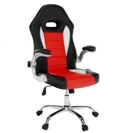 Kancelárske kreslo, ekokoža čierna/červená, MARVIN NEW
