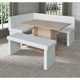 komplet rohová lavica+stol+lavica ekokoža biela, L - prevedenie, MODERN