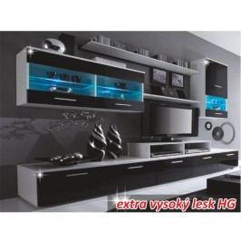 Obývacia stena, LED s osvetlením, biela/čierna extra vysoký lesk HG, LEO