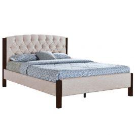 Manželská posteľ, piesková/tmavý orech, 160x200, ELENA NEW