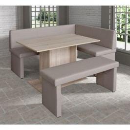 komplet rohová lavica+stol+lavica ekokoža caupcino, P - prevedenie, MODERN