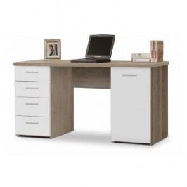 Praktický PC stôl vhodný pre študentov aj do kancelárií jedinečný hrúbkou vrchného plátu - až 22mm, dub sonoma/biela, EUSTACH