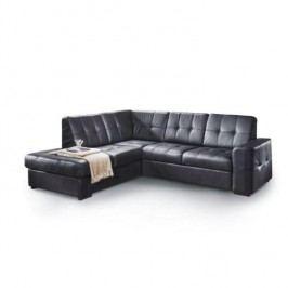Rozkladacia rohová sedacia súprava s úložným priestorom, Ľ prevedenie, koža Advantage čierna, TREK VEĽKÝ ROH
