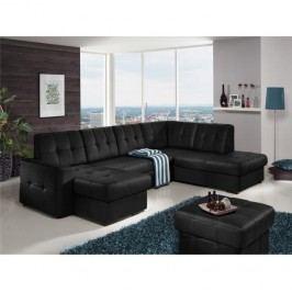 Rozkladacia rohová sedacia súprava v tvare U s úložným priestorom, P prevedenie, koža Advantage čierna, TREK SYSTÉM U