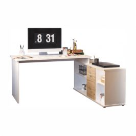 Písací stôl, biela/dub wotan, DALTON 2 NEW VE 02