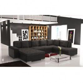 Elegantná sedacia súprava v tvare U, pravé prevedenie, ekokoža čierna / šenil Berlin 02, ALMA