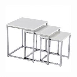 Set 3 konferenčných stolíkov, biela extra vysoký lesk, ENISOL TYP 3