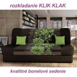 Pohovka, rozkladacia s úložným priestorom, látka hnedá/zelený kvet, PLUM