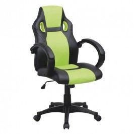 Kancelárske kreslo, ekokoža čierna/ekokoža zelená, LESTER