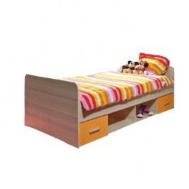 Posteľ s dvoma zásuvkami, dub sonoma/oranžová, EMIO Typ 04