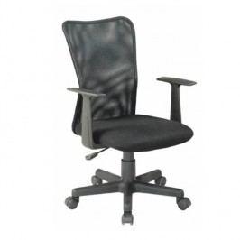 Kancelárska stolička, látka čierna+čierna sieťka, REMO