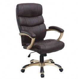 Kancelárska stolička, ekokoža hnedá/plast, GORDON
