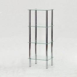 Regál, so štyrmi poličkami, chróm + číre sklo, FREDDY